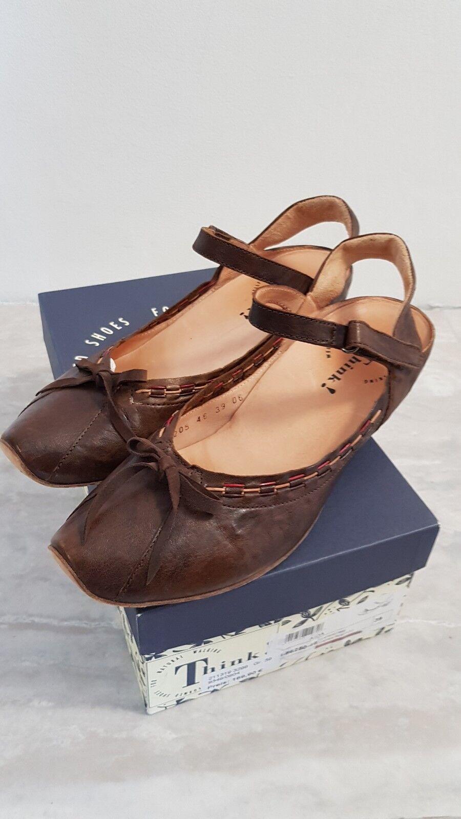 Think! Capra rustico cuero 39 sandalias zapatos sandalia Lagenlook un café