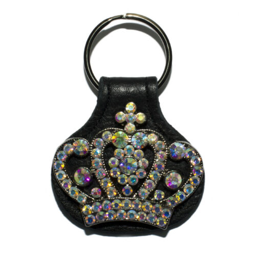 Made In USA Raviani Black Pebble Grain Leather Key ring W// AB Crystals Crown