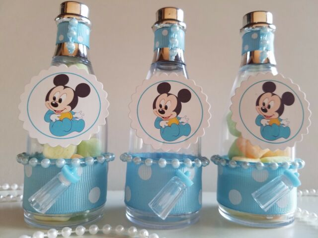12 Mickey Mouse Fillable Champagne Bottles Baby Shower Boy Favors