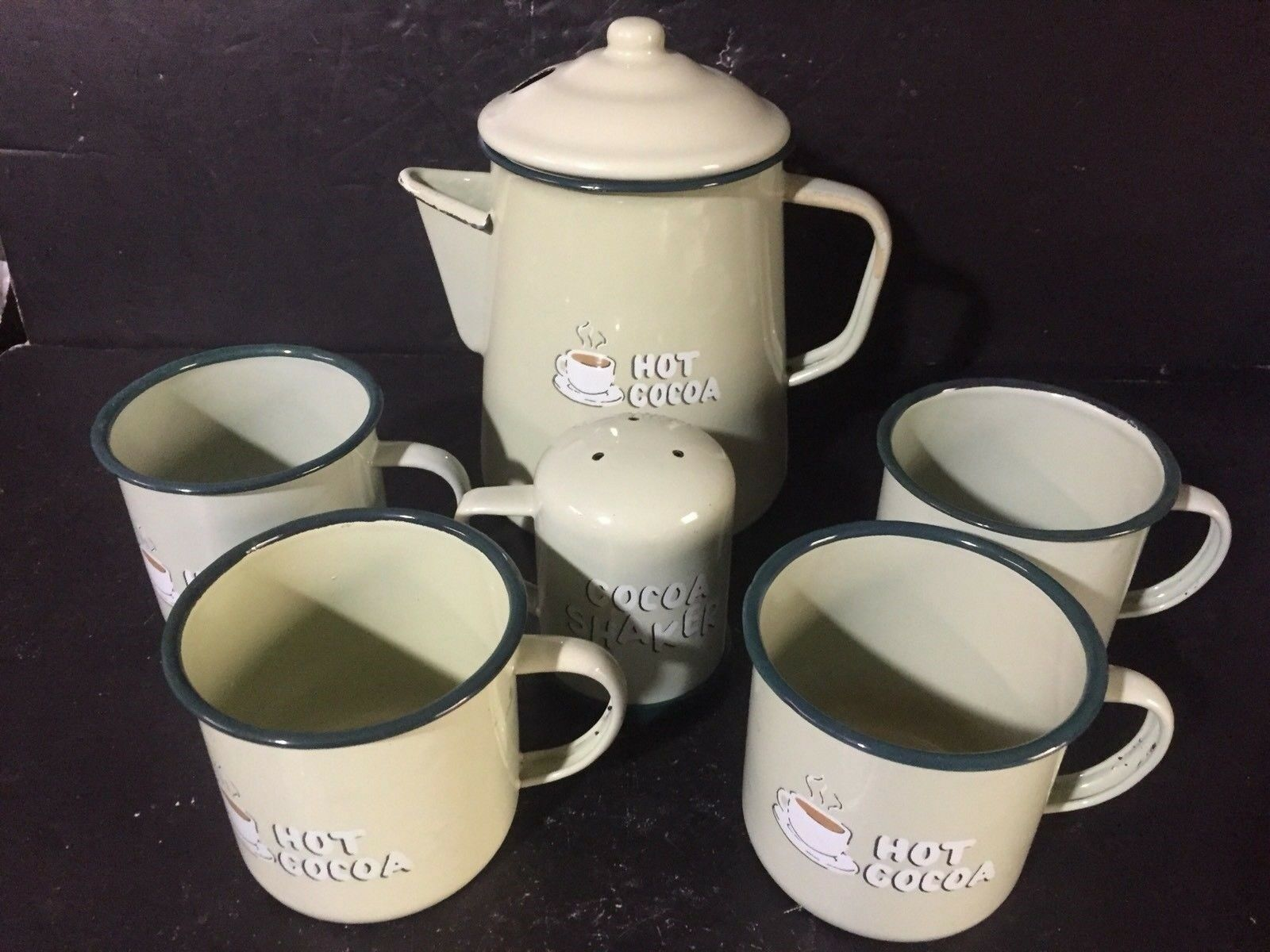 6pc set Enamel Coffee Cocoa shaker pot 4 Mugs Tin Camping camp cookware outdoor