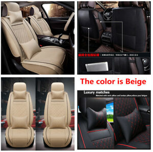 PU-leather-Soft-Car-Front-Seat-Cover-Cushion-Neck-Lumbar-Pillow-for-5-seats-Car