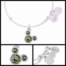 Silver August Birthstone Mickey Mouse Icon Alex and Ani Bangle Bracelet