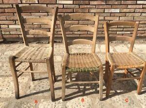 Sedie Rustiche Antiche.Dettagli Su Antiche Sedie In Legno Massello Con Seduta In Paglia Rustiche Arte Povera