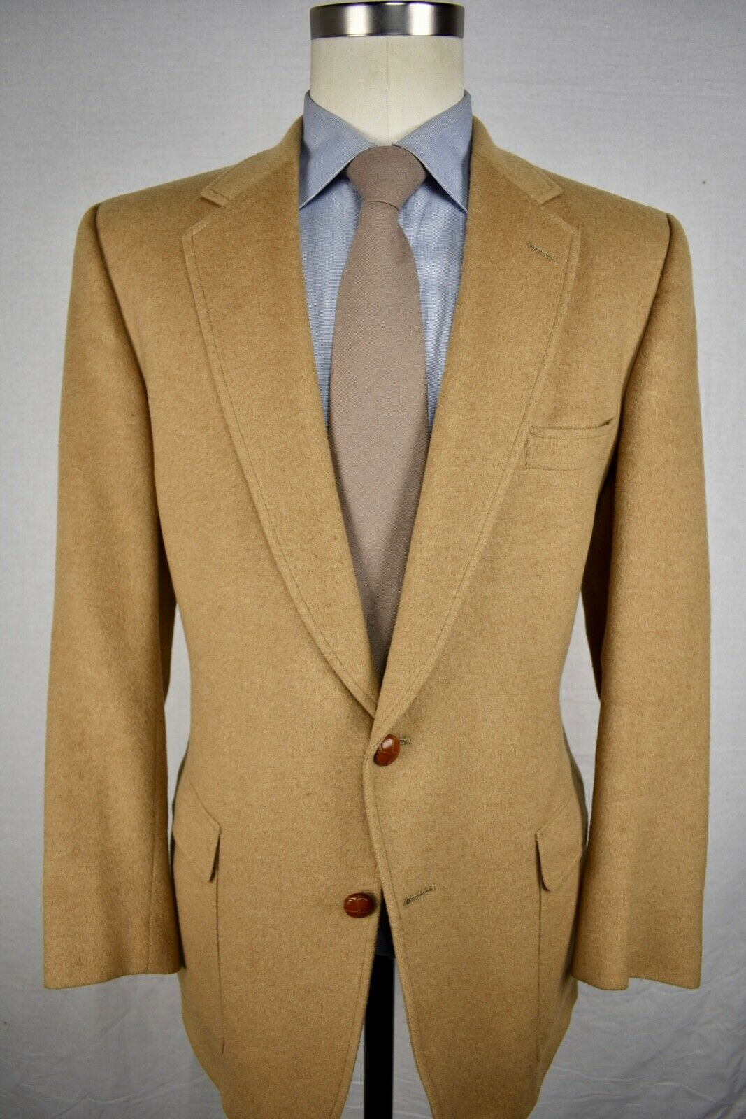 Austin Reed Solid Light Brown 100% Camel Hair Two Button Sport Coat Size  42R