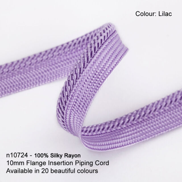 20 Colours Strong Firm Trimming for Edging 3mm cord is integral of Piping. Unique Construction with no stitching line Silky Viscose Rayon Neotrims 10MM FLANGED INSERTION BINDING PIPING CORD BRAID