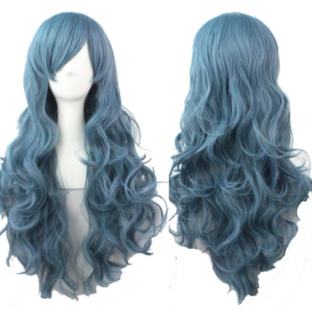 fashion costume women curly wavy hair full long wigs cosplay halloween blue wig