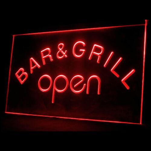 110023 Bar /& Grill OPEN Beer Cafe BBQ Display LED Light Sign