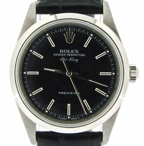 Details about Rolex Air King Mens Stainless Steel Watch Sapphire Crystal  Black Band Dial 14000
