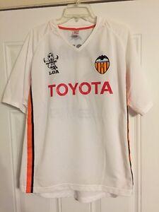 Toyota-Valencia-Soccer-Jersey-Loa-Soledad-White-Orange-Black-Stripe-sz-Large-EXC