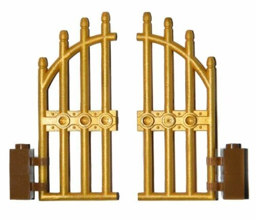 LEGO GOLD gate pack of 2 for princess castle house palace fence door
