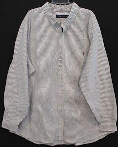 Polo-Ralph-Lauren-Big-Tall-Mens-Gray-Striped-Oxford-Button-Front-Shirt-NWT-4XLT