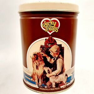 Vintage Jerky Treats Dog Food Collectible Tin Storage Container