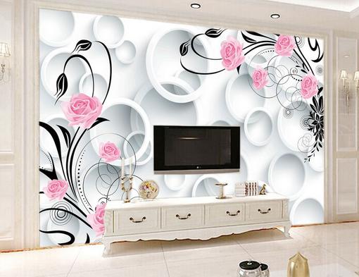 3D Weiß Circle Flowers 025 Wall Paper Wall Print Decal Wall AJ WALLPAPER CA