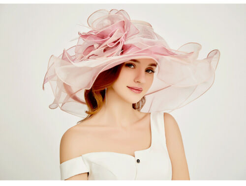 Womens Church Wedding Royal Ascot Ladies' Day Wide Brim Feather Floppy Hat