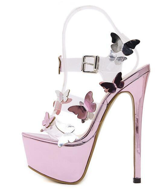 Womens Butterfly Super High Heels Stiletto Open Toe Platform Sandals shoes Party