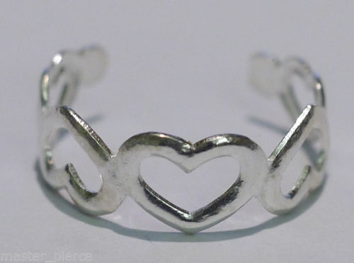Fully Adjustable Silver Heart Toe Ring Size Around H-M