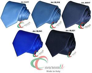 Cravate-unie-bleu-satin-haute-qualite-Made-in-Italy-personnalise-aussi-corbata