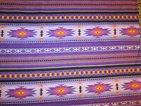 Navajo Indian Purple Teal Border Print Cotton Fabric FQ