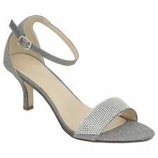 New Womens Mid Heel Diamante Buckle Ankle Strap Peep Toe Shoes 3 8