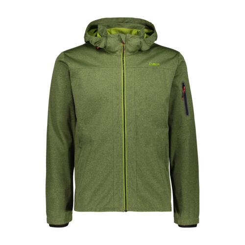 CMP Messieurs Softshelljacke Veste on Jacket Zip Hood vert étanche chiné
