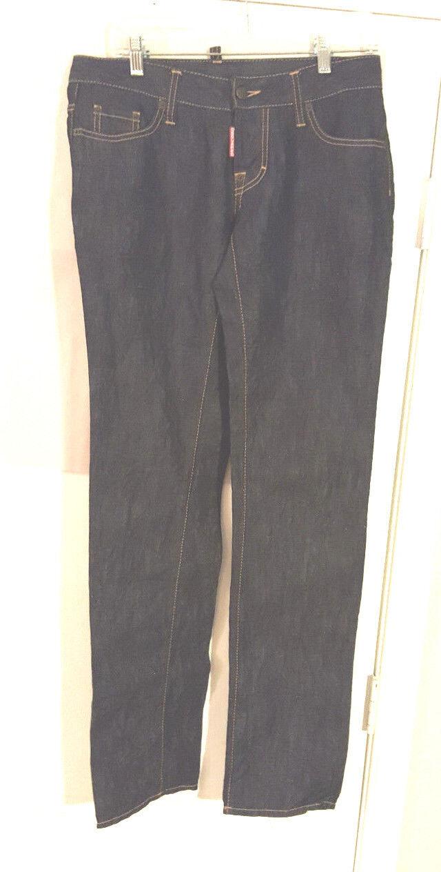 Dsquared2 Women's Jeans US 12 Inseam 34 bluee Dark wash Denim strt leg NWOT