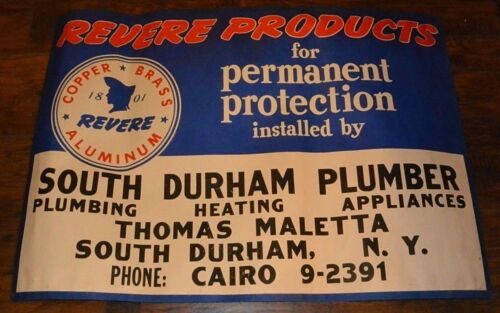 South Durham Cairo NY Revere Products Vintage Plumber Advertising Banner