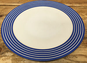 Image is loading Denby-Intro-Blue-Stripe-Cobalt-Royal-1-Dinner- & Denby Intro Blue Stripe Cobalt Royal 1 Dinner Plate White Bands ...