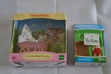 Sylvanian Families Set 5018 Chocolate Rabbit Twins & 4189 Red Deer Baby Crib etc