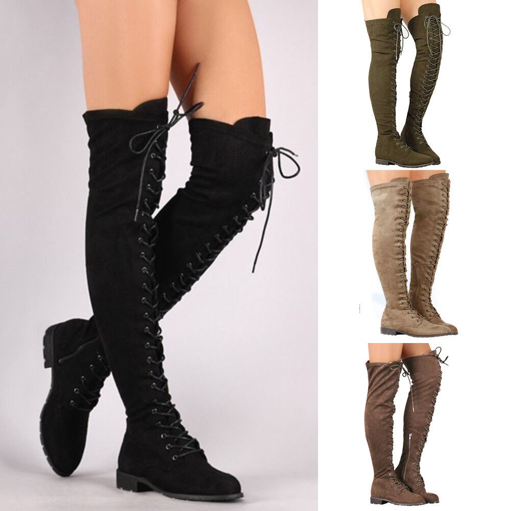 Mujer Over Ladies Thigh High Over Mujer The Knee Long Low Heel Lace Up Stretchy botas Talla 955e5b