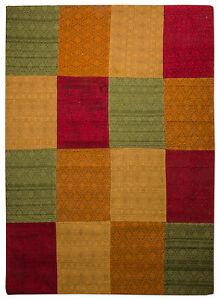 Morgenland-patchwork-tapis-Weys-a-poils-ras-design-vintage-vert-rouge