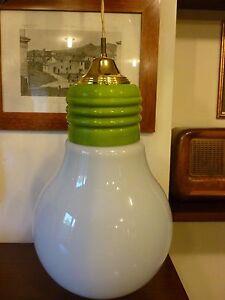lampadario a soffitto a forma di lampadina in vetro vintage anni 70
