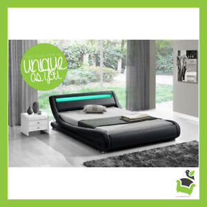 brand new 850bd 8cb83 Details about LED Double Bed Faux Leather King Size Frame Modern Italian  Designer Bed Frames