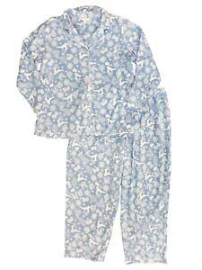 Womens Blue Reindder & Snowflake Pajamas Plus Size Fleece ...