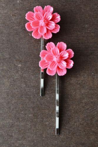 Silver Hair Pin Grip Clip Slide Flower Bobby Pin Wedding Hair Accessory-Pair
