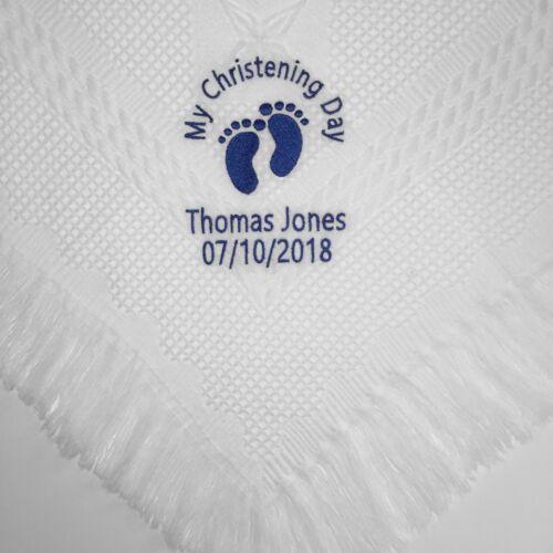 Personalised embroidered baby christening shawl blanket gift boy girl baptism