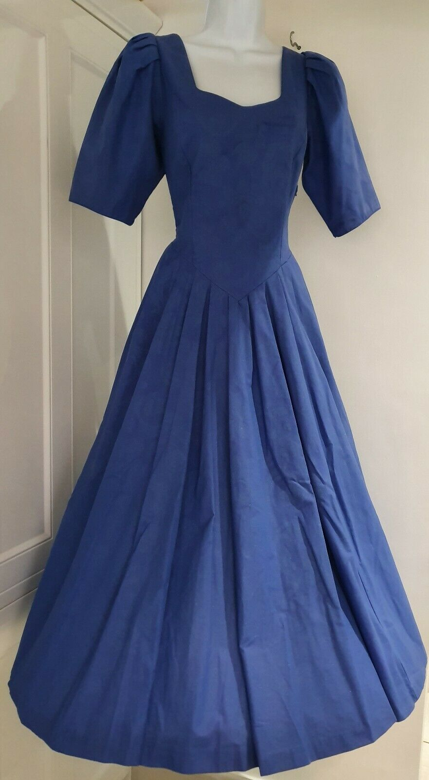 Womens Laura Ashley Vintage Blue Puff Sleeves Bustle Back Fairytale Dress 12 Vgc
