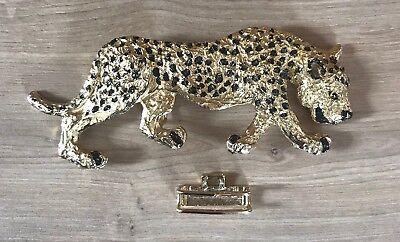 """Rare Mimi N Nascemi 6"""" Di Leopardo Vintage Goldtone Fibbia Della Cintura Condizione Exc-"""