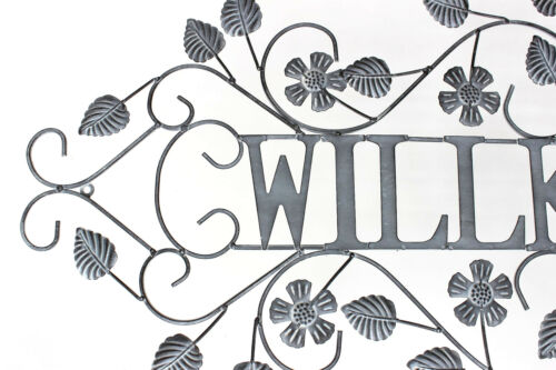 Wandschild Willkommen Metall Vintage Shabby Dekoschild Wandbild Schild Wand