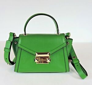 a74cf9131056 Michael Kors NEW $228 True Green Leather Mini Whitney Crossbody ...