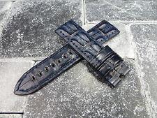 New 24mm Navy Blue Genuine ALLIGATOR HORNBACK Strap Leather Watch Band Pam 1950