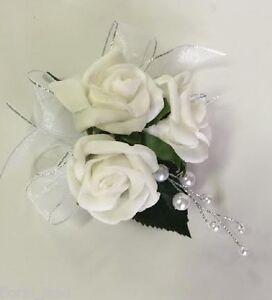 Silk wedding flower pin corsage flowers white roses pearls pinhole image is loading silk wedding flower pin corsage flowers white roses mightylinksfo