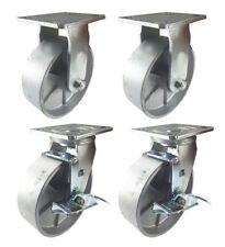 4 Heavy Duty Caster Set 4 5 6 All Steel Wheels Rigid Swivel And Brake