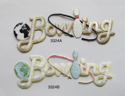 """#3324 7-1//2/"""" Bowling Word,Bowl Embroidery Iron On Applique Patch"""
