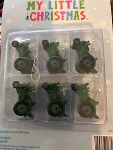 "Set of 6 Christmas Tree Ornaments Mini Green Vintage Tractors 1 1//2/"" x 3//4/"""
