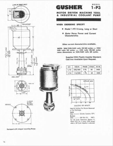 60Hz 3450 RPM Coolant Pump Gusher 1P3-XL 1//10HP X-long 3-Phase 230//460v