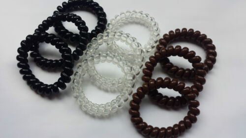 Large Thick Spiral Hair Band Hairbands Stretchy Bobble Brown//Black//Clear 3 or 6