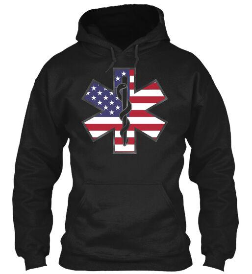 Star Of Life Emt Flag (amz) Gildan Hoodie Sweatshirt