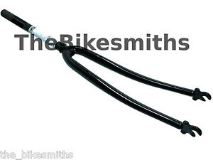 700C-1-INCH-250mm-THREADED-STEER-BLACK-ROAD-BIKE-FORK-CROMOLY-CLASSIC-FIXED-GEAR