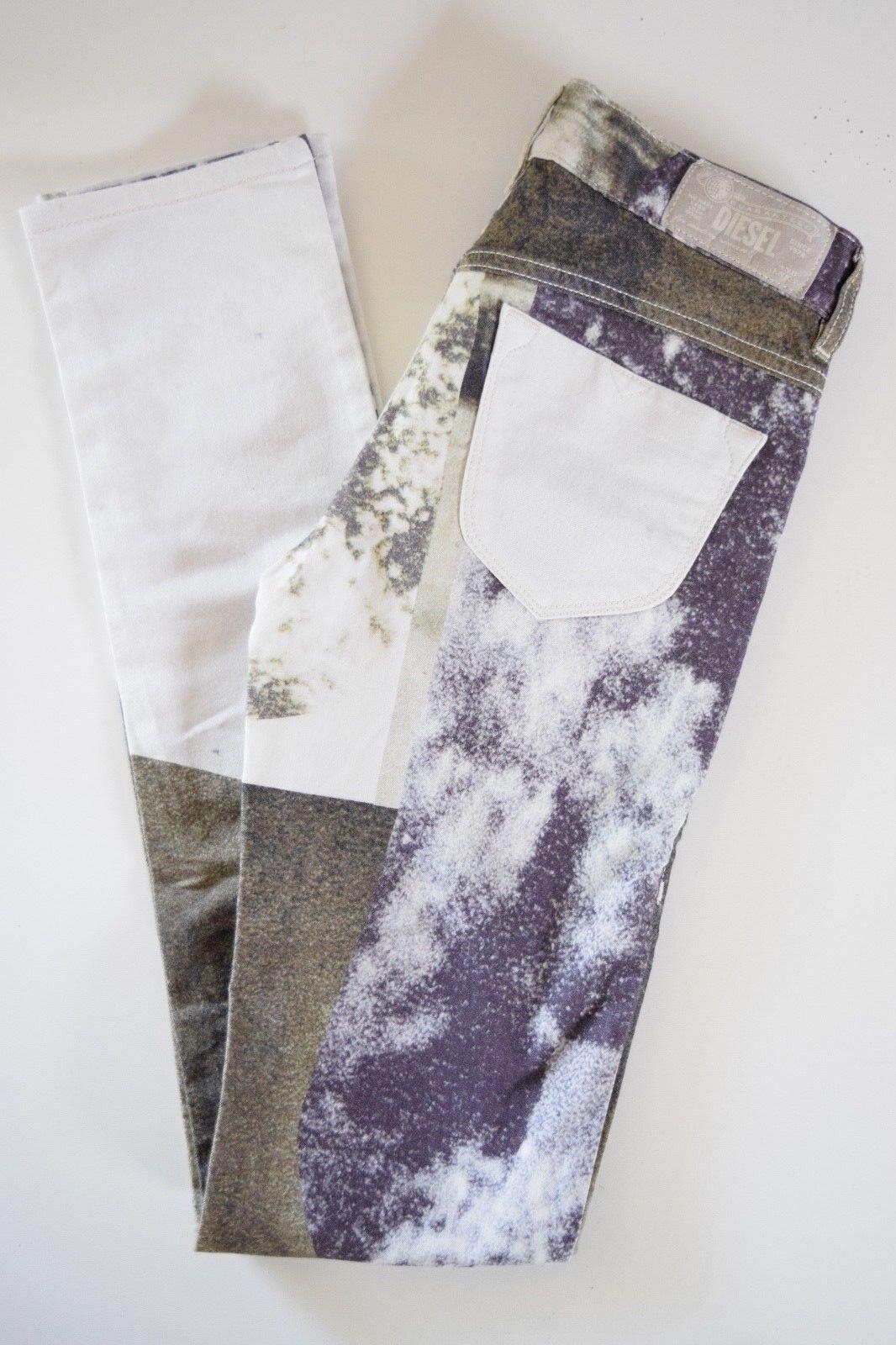 DIESEL LIVIER super slim jegging  Jeans Woman SZ 25 in 003N3 PRINT MULTICOLOR