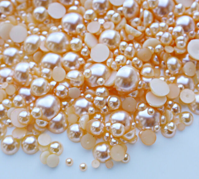 USA Seller --- 800 Pieces Champagne Mixed Sizes Flatback Pearl Cabochons